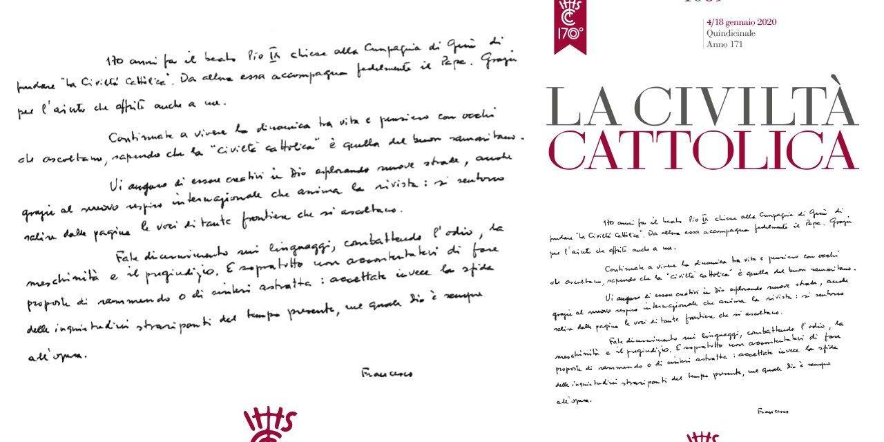 Хирограф Папы по случаю 170-й годовщины La Civiltà Cattolica